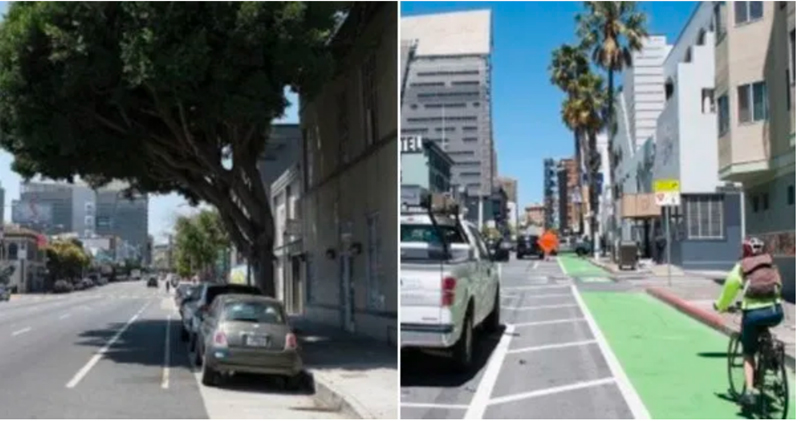 Before and after bike lane, 7th St. SF.
